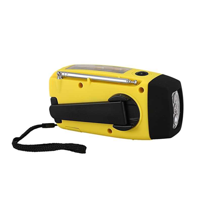 AMS-Radio Fm portátil de emergencia banco de energía de mano de manivela de alimentación automática Am/Fm/Noaa Radios solares con 3 linterna Led
