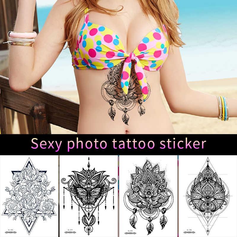 Seksi Lengan Tato Stiker Ukuran Besar untuk Dada Pinggang Makeup India Bunga Perhiasan Pola Air Transfer Palsu Tato Stiker RA031