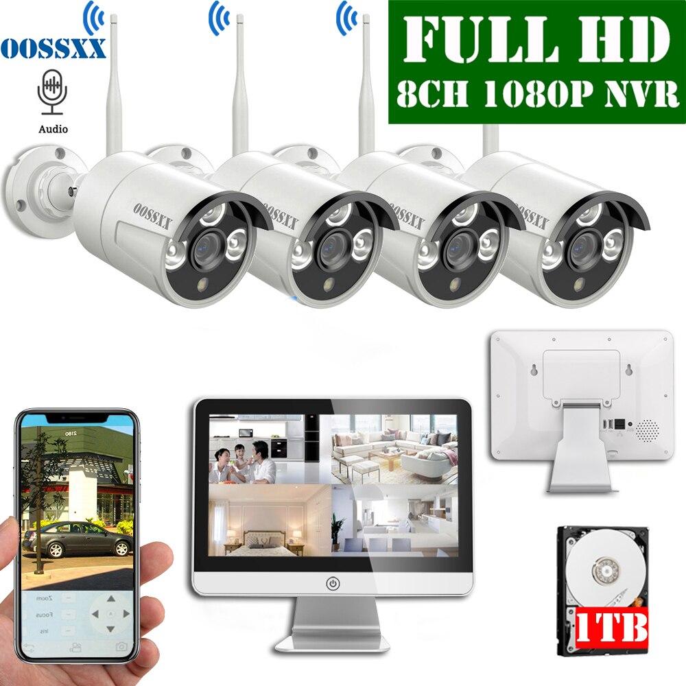 8CH 1080P Kit NVR inalámbrico 15 'Monitor LCD 1080P 2,0 M al aire libre IP Audio cámara de seguridad wifi sistema de cámara videovigilancia Alarma de Casa Tuya, alarma de fugas de agua, Detector de fugas de agua independiente WIFI, alerta de inundación, sistema de alarma de seguridad de desbordamiento