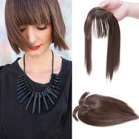 Hairro Women Clip In Hair Extensions 2 Clips In Topper Natural Straight Black Brown Synthetic Hair With Bangs Fake Hairpiece