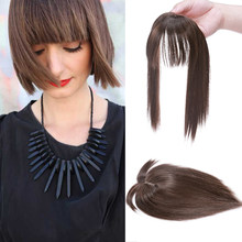 Women Clip In Hair Extensions 2 Clips In Topper Natural Straight Black Brown Synthetic Hair With Bangs Fake Hairpiece