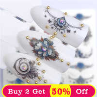 ZKO 1 PC bleu Rose collier collier suspendus perles conceptions pour Nail Art filigrane tatouage décorations ongles autocollant eau décalcomanies