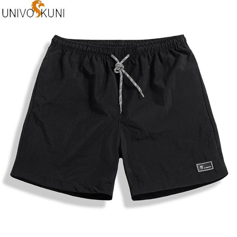 UNIVOS KUNI New Summer Fashion Men Shots Fit Slim Casual Shorts Solid Leisure Sportswear Board Shorts Men Plus M-5XL Q594