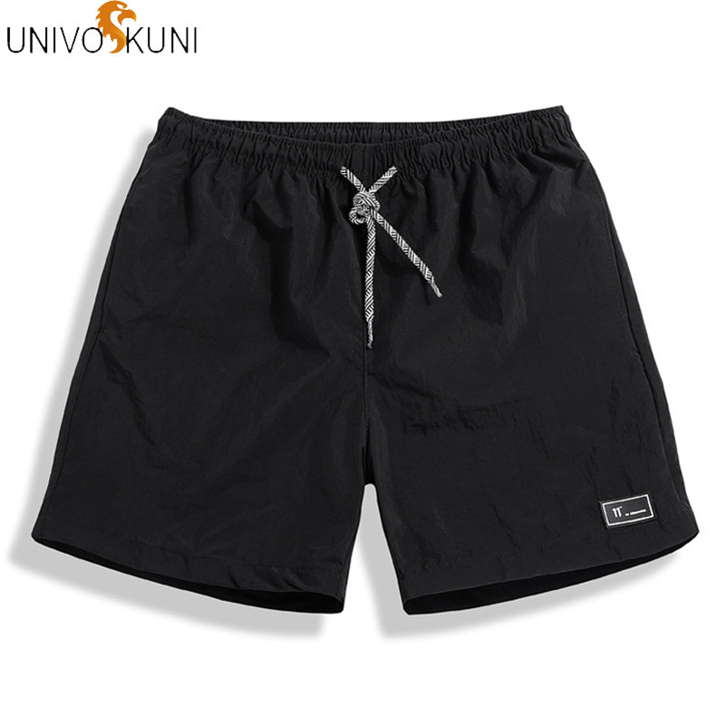 UNIVOS KUNI New Summer Shorts Men Fashion Men Shots Fit Slim Casual Shorts Solid Leisure Sportswear Board Shorts Men Plus M-5XL