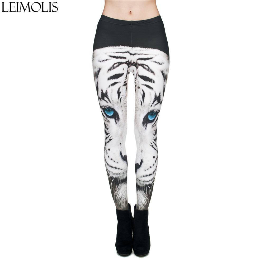 LEIMOLIS 3D Print Angry White Tiger Black Fitness Push Up Workout Leggings Women Harajuku High Waist Punk Rock Sexy Leggins
