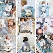 T5EC Polar Bear Children Knitted Blanket Newborn Infant Sleeping Swaddle Wrap Sleepsack Bedding Sofa Beach Mat Photography Props