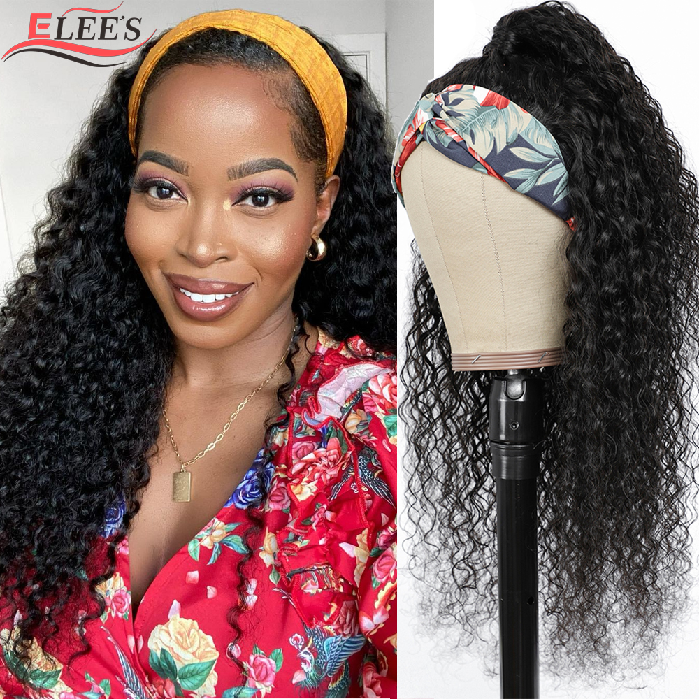 Brazilian Curly Headband Wig Human Hair Wigs For Black Women Glueless Scarf Headband Wig Remy Deep Curly Wave Headband Wig