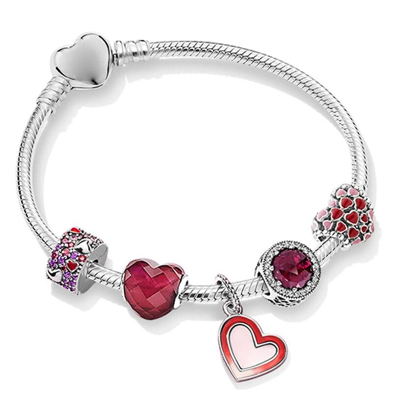 100% 925 Sterling Silver Love ZT0243 Heart-shaped Stringed Bracelets Set 2019 Valentine's Day Surprise Fashion Gift