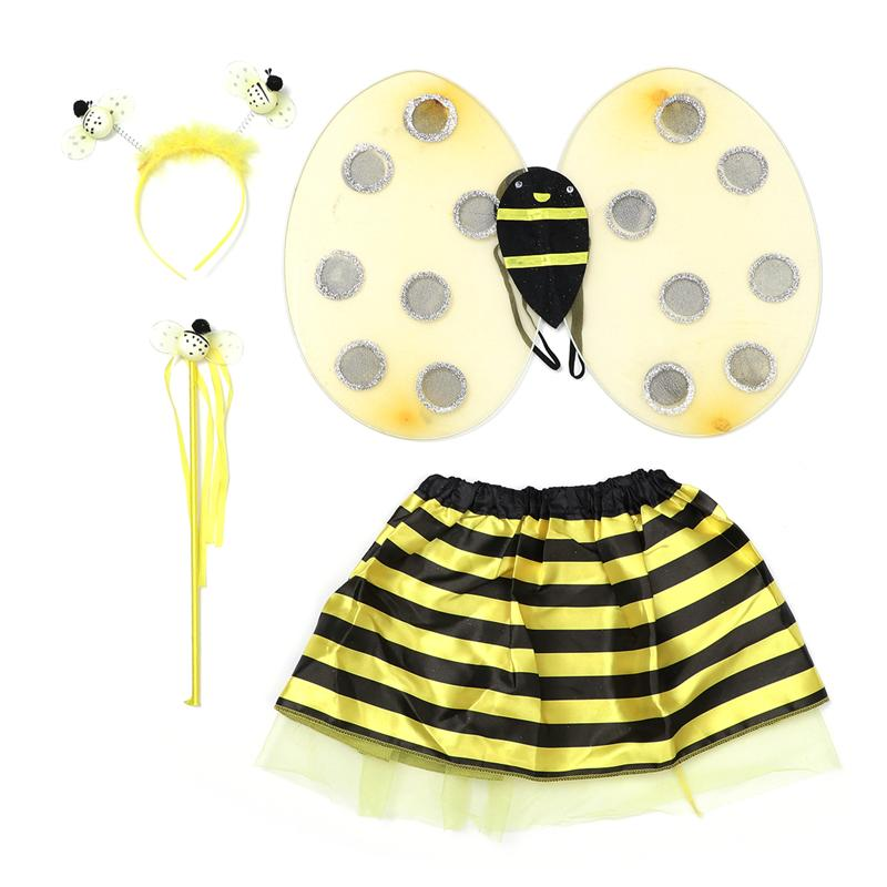 4 Pcs Halloween Costume Set Dress up Clothing Bee Wing Skirt Magic Wand Headband Set Costume Outfit for Teens Kids Toddlers
