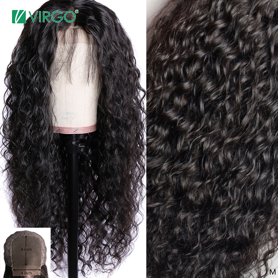 Water Wave 4x4 Lace Closure Wig With Baby Hair For Black Women Middle Malaysia 150% Density Remy Hair Bleached Knots 10-24 Inch