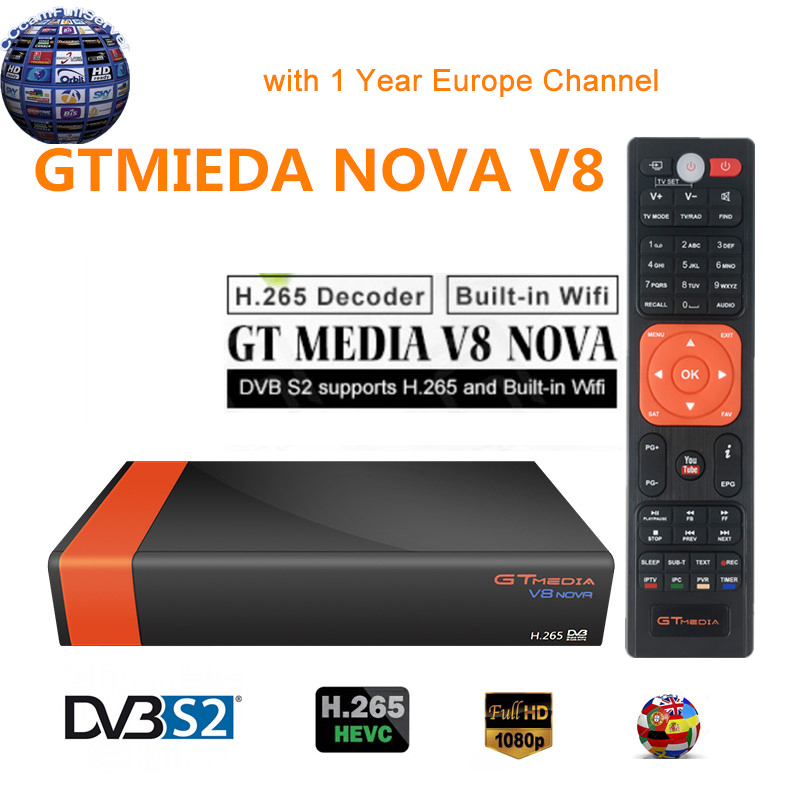 GTMedia V8 Nova DVB-S2 Satellite Receiver With 1 Year Europe Channels V8 Super H.265 Built-in WIFI Full HD Spain TV Decoder