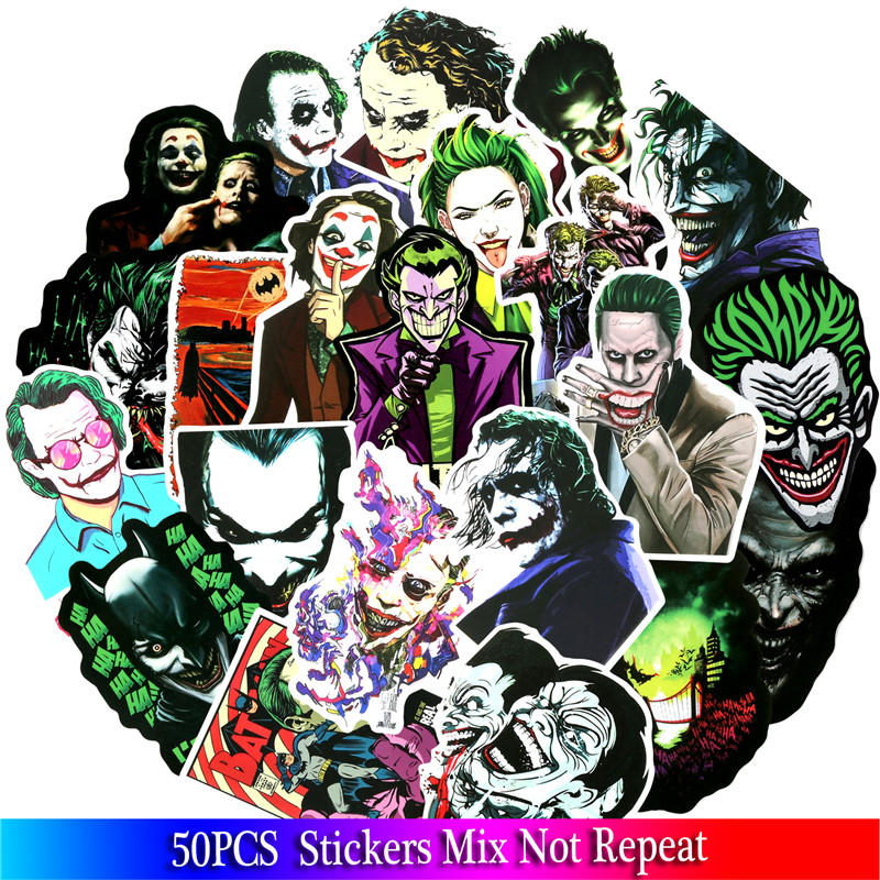 50 pcs Joker Sticker Super Villain Movie Anime Cartoon Pegatina For Luggage Skateboard Motorcycle Bicycle Cool Stickers image