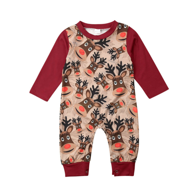 Hot Newborn Infant Baby Boy Girl Christmas Romper Bodysuit Pajama Clothes Outfit