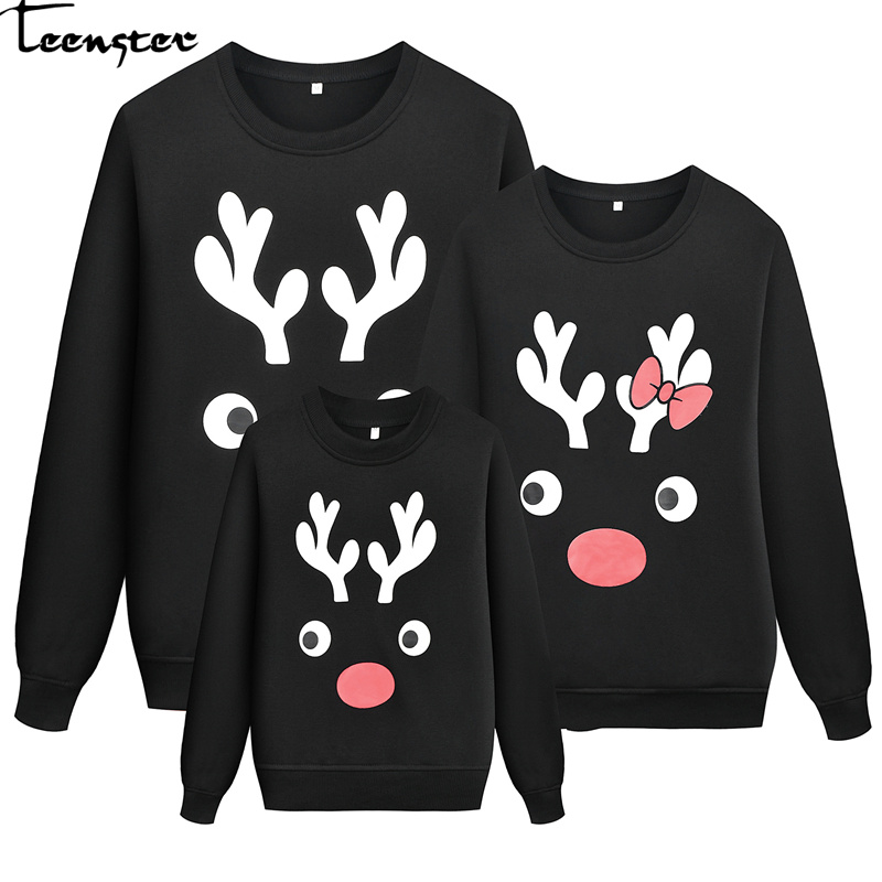 Teenster Family Matching Clothes Christmas Costume Dad Son Family Look Deer Printed Sweatshirt Matching Couple Outfits Tops