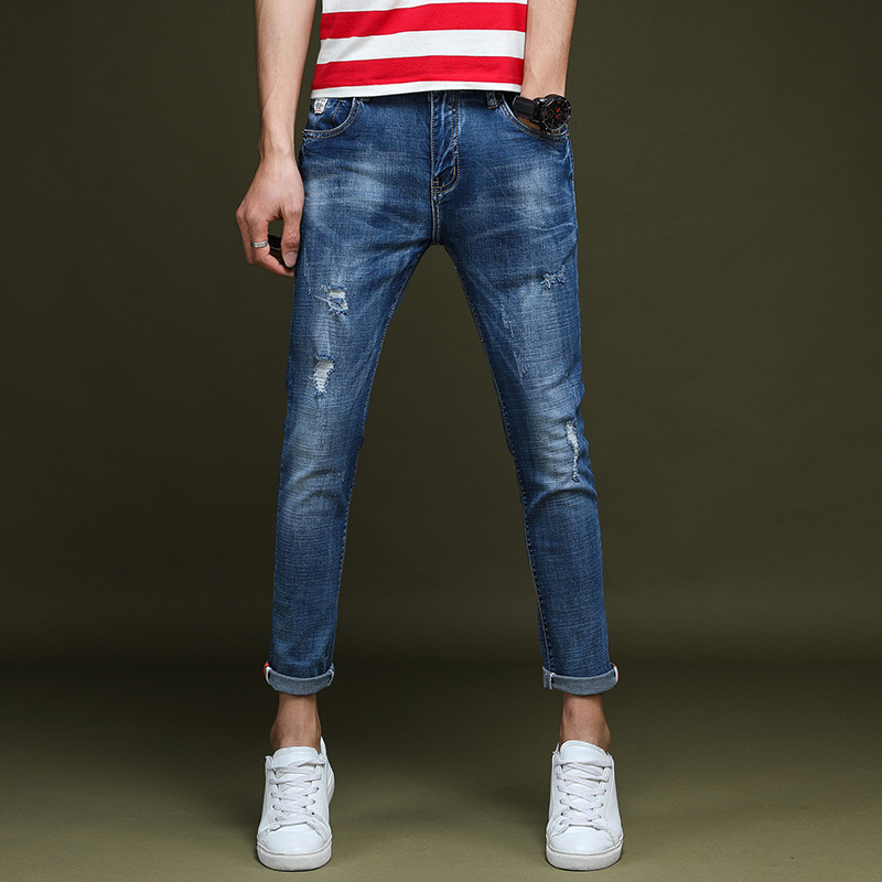 MEN'S Wear Business Jeans Men's Korean-style Slim Fit Straight-Cut Elasticity High-waisted Cowboy With Holes Capri Pants Zqt9612