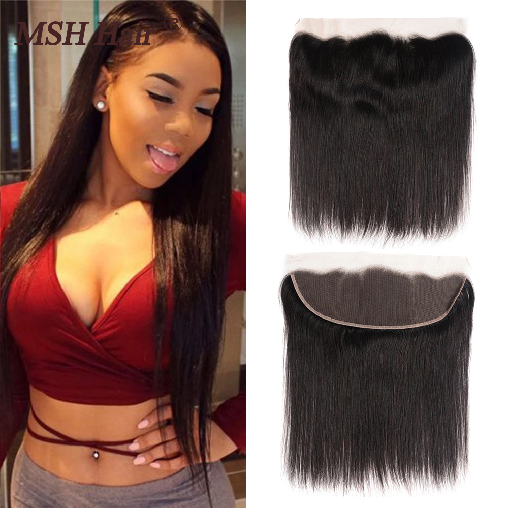 MSH Hair Peruvian Lace Frontal Closure Straight Hair 13x4 Free Part Ear To Ear 150% Density Non Remy Hair Free Shipping 8-20inch