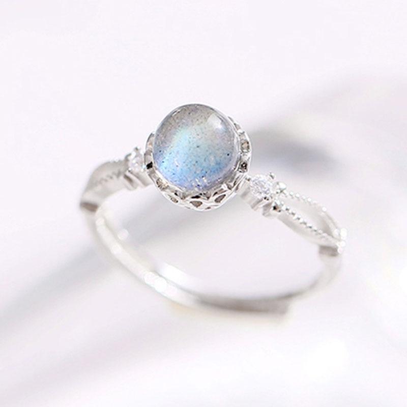 Hutang Korean Fashion adjustable Women's Ring Silver 925 Natural Gemstone Moonstone Ring For females Party Gift anillos