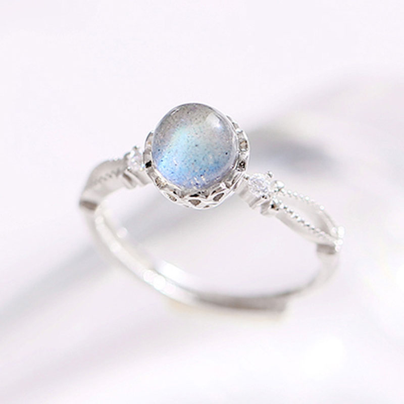Korean Fashion Adjustable Ring 925 Silver Moon Stone  Rings For Females Woman Gift