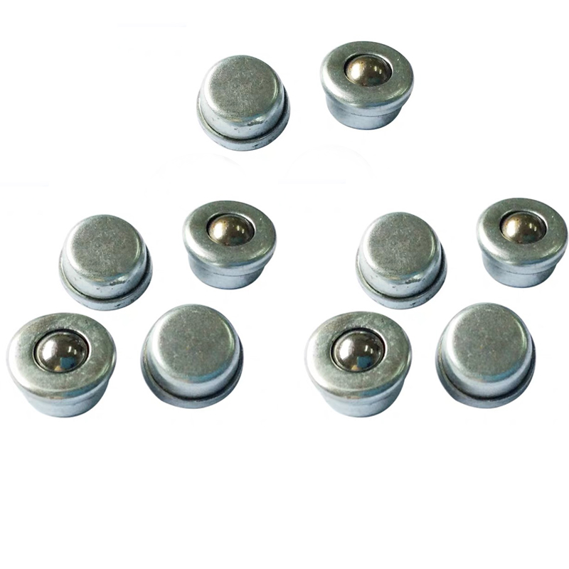 10PCS CY-8H 8mm Metal Ball Transfer Bearing Unit Conveyor Roller Wheels Durable Small Flat Round Eye Wheel Conveying Ball