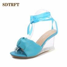 SDTRFT 플러스: 34 42 43 숙녀 크리스탈 웨지 Stilettos 8cm 하이힐 섹시한 슬리퍼 들여다 발가락 펌프 여성 샌들 여름 소녀 신발