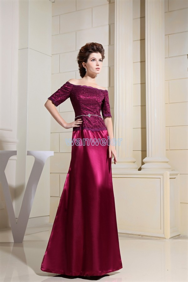 Free Shipping 2016 Vestidos Formales Formal Dress Maxi Dresses Long Brides Maid Dress Wine Red Lace Mother Of The Bride Dresses