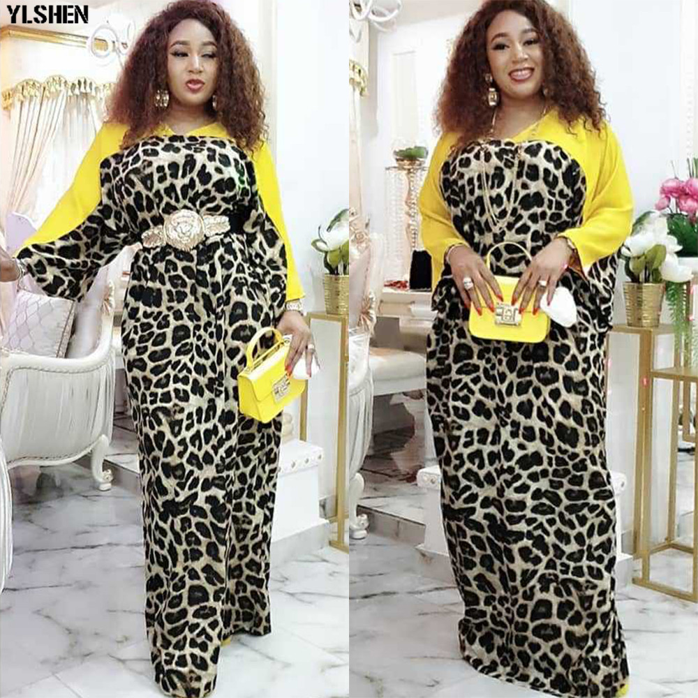 Print Long Maxi Dress African Dresses For Women Plus Size Dashiki Leopard African Clothes Abaya Dubai Muslim Dress Africa Robe