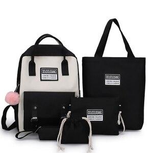 Image 5 - New Trend Female Backpack Fashion Cute Women Backpack Canvas Shoulder Bags Teenage Women School Bags Mochilas School Backpack