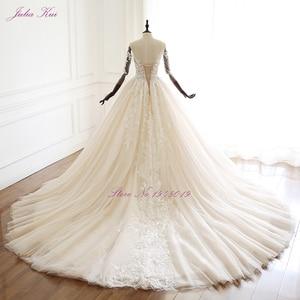 Image 2 - Julia Kui uroda aplikacje przepiękna suknia balowa suknia ślubna w stylu Vintage koronki z kryształkami trzy czwarte zasznurować suknie ślubne