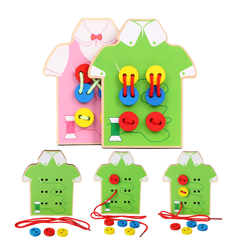 Baby Montessori Educational Wooden Toys For Children Early Learning Beads Lacing Board Toddler Sew On Buttons Teaching Aids Gift