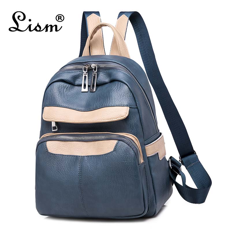 Stitching Backpack 2019 New PU Leather Youth Girl Schoolbag College Style Fashion Travel Backpack Charm Blue Main Style