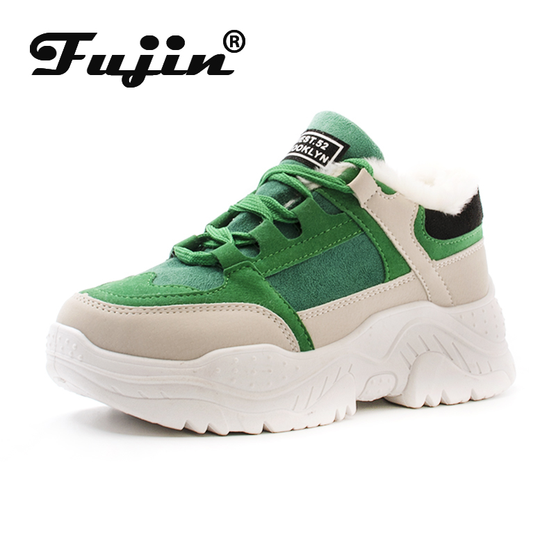 FUJIN Brand Women Casual Sneakers Autumn Winter Keep Warm Plush Fur Female Shoes Lace Up Cpmfortable For Women