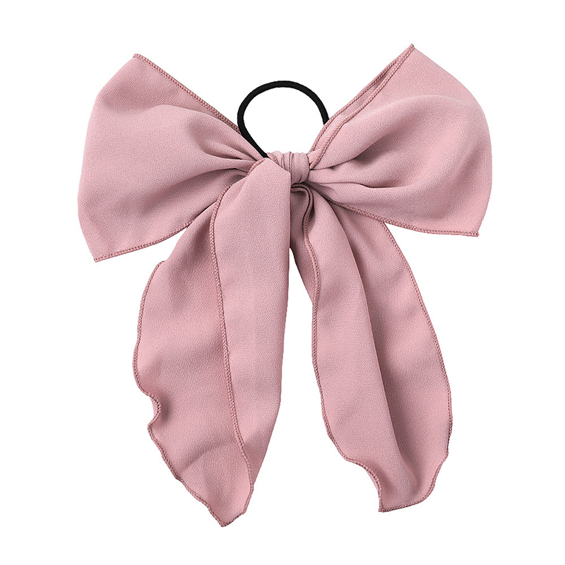 2019 Sweet Chiffon Large Streamers Ribbon Bows Bowknot Hair Rope Elastic Rubber Band Hair Ties For Girls Korean Hair Accessories