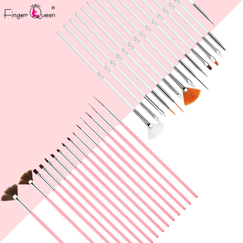 15 Pieces Nail Art Brush Set for Detailing Striping with Gel Brushes Painting Brushes Dotting Tool Fan Brush and Liner