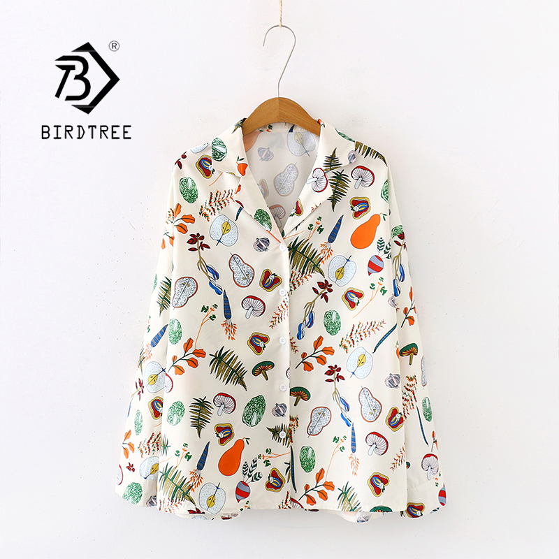 New Arrival Fruit And Vegetable Print Notched Lapel Oversize Chiffon Blouse Button Up Apricot Casual Chic Shirts Feminina Blusa