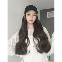 TALANG Peaked cap Hat with Synthetic Hair Wig Black Brown Long Straight hair Extension with Peaked cap Cap Black Hat for women(China)