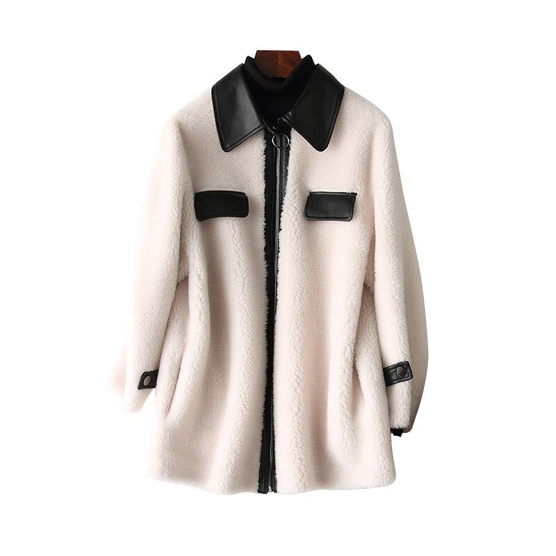 Autumn Winter Coat Women Clothes 2020 Real Fur Coat Korean Vintage Wool Jacket Sheep Shearling Suede Lining Women Tops ZT3516