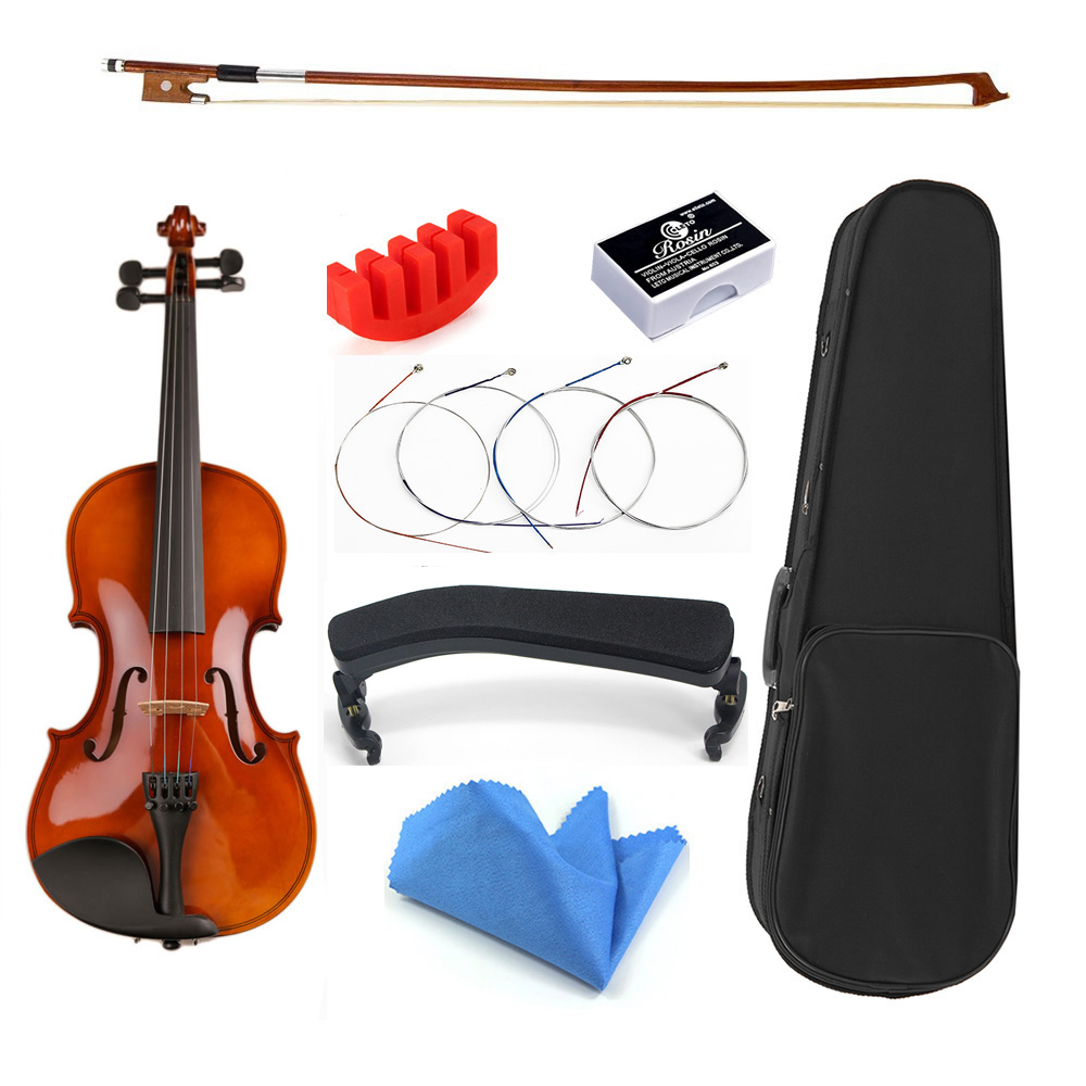 1/8 1/16 Size With Case Bow Strings Shoulder Rest Bass Wood Violin For Beginner Students