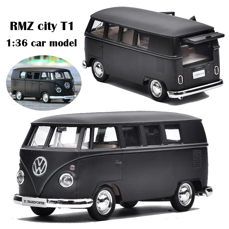 1:36 Vehicle Car Toy Car Model Pull Back Toy For Children Pull Back Models Diecast Alloy Kids Boy Gift Matt Black For VW Bus