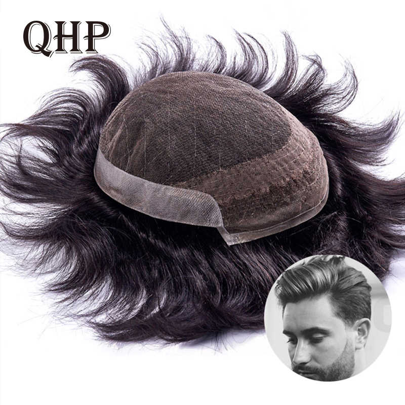 Mens toupee French Lace With PU Wig 6inch Remy Indian Hair Replacement System Human Hairpieces Toupee For Men