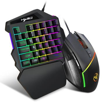 Wired Gaming Keyboard Mouse Set With LED Backlight Multimedia 35 Keys One-handed Keyboard Mouse For LOL/PUBG/CF Phone Pc Game wireless gaming keyboard mouse set with led backlight gaming backlight 2 4ghz wireless keyboard alloy panel suitable for desktop