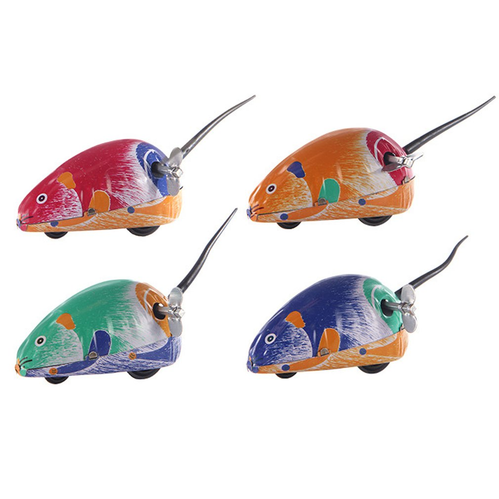 Classic Mini Clockwork Classic Toy Animal Mouse Clockwork jumping Winding Up Educational Toy Creative  gift for Children Pet Toy