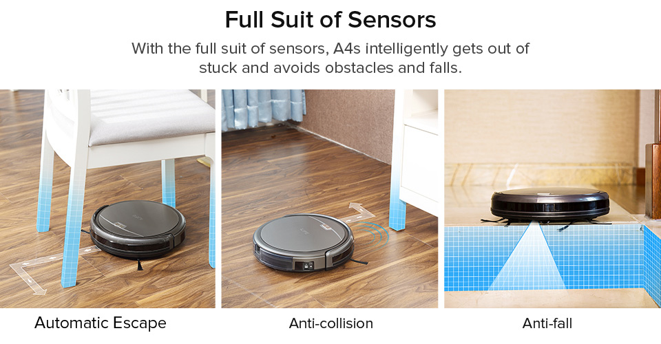 H60842f78e1c940eb959675f0e01c7650c ILIFE A4s Robot Vacuum Cleaner Powerful Suction for Thin Carpet & Hard Floor Large Dustbin Miniroom Function Automatic Recharge
