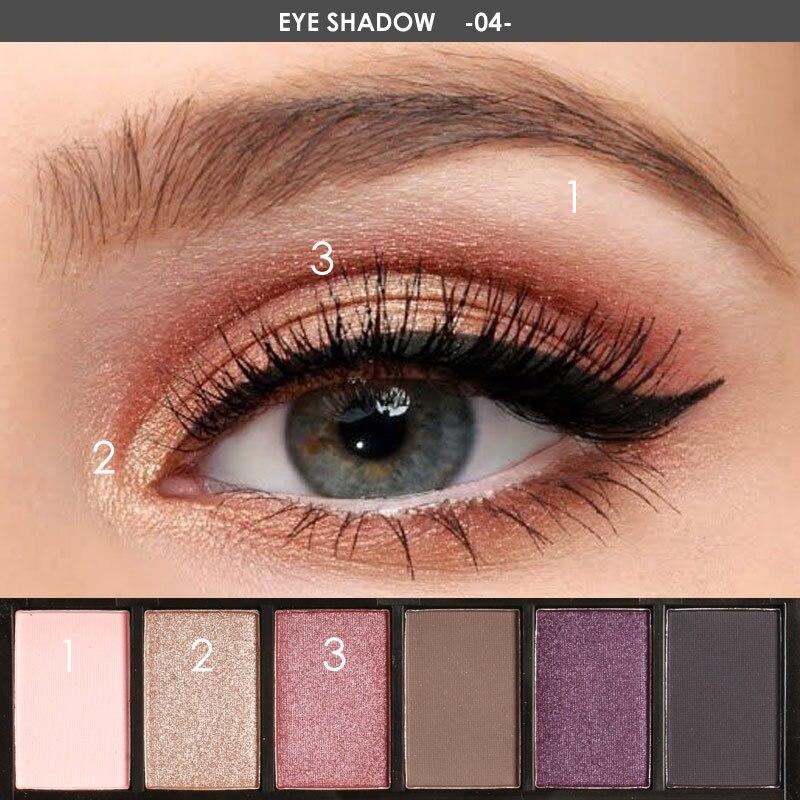 FOCALLURE 6 Colors Eye Shadow Makeup Shimmer Matte Eyeshadow Earth Color Eyeshadow Palette Cosmetic Makeup Set Nude Eye Shadow 4