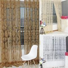 Vintage Voile Floral bordado pura ventana cortina flocado cortinas para dormitorio sala de estar hogar Decoración