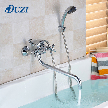 цена на Double Handle Chrome Polished Cold &Hot Water Shower Tap With Hand Shower Bath Shower Faucet Set Brass Wall Mounted Rain Shower