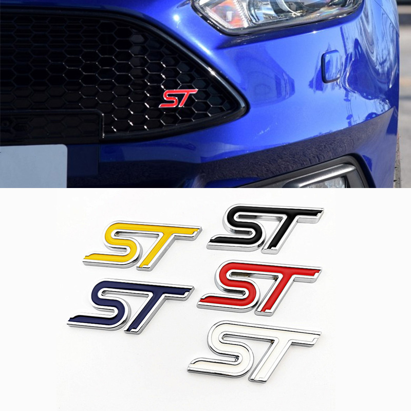 3d metal etiqueta do carro st emblema adesivo de automóvel decoração acessórios para ford ranger foco fusão s max mondeo fiesta kuga mustang