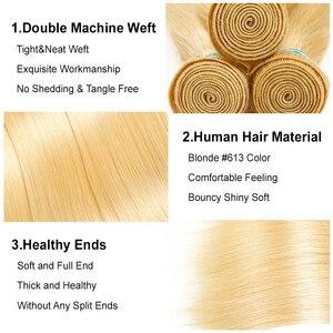 Image 3 - עלי גרייס בלונד 613 חבילות עם סגירת 100% רמי ישר שיער חבילות עם סגירת דבש בלונד 1B 613/613 שיער עם סגירה