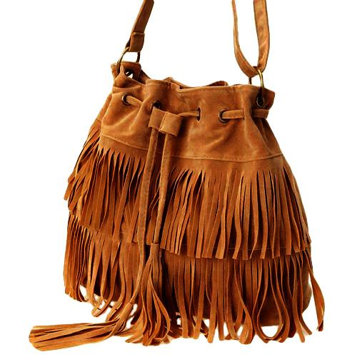 Fashion Women Faux Suede Fringe Drawstring Bucket Bag Solid Color Vintage Tassel Crossbody Shoulder Bags