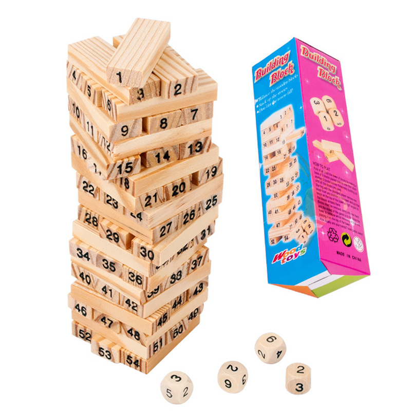54PCS/set Kids DIY Wooden Tower Building Blocks Toy Domino Stacker Board Game Folds Learning Toy Children Early Educational Toys