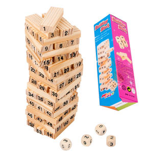 54PCSset Kids DIY Wooden Tower Building Blocks Toy Domino Stacker Board Game Folds Learning Toy Children Early Educational Toys